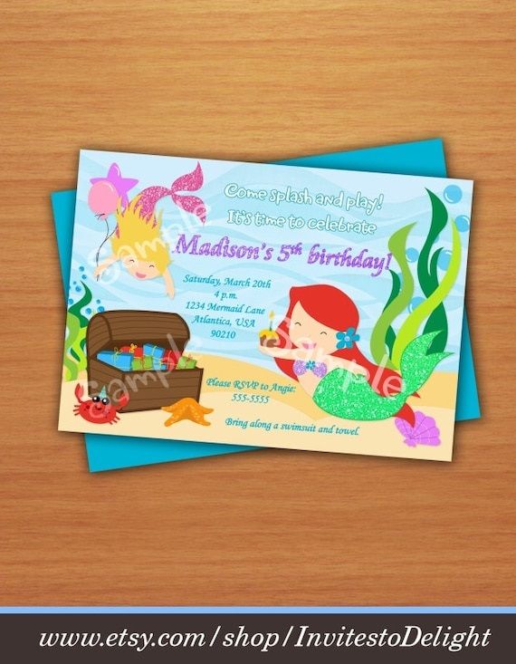 Personalized Mermaid Birthday Invitation DIY