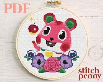 Animal Crossing Apple Cross Stitch Pattern