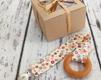 Baby Girl Gift, Teething Ring, Baby Girl Shower Gift, Burp Cloth, Gift Set