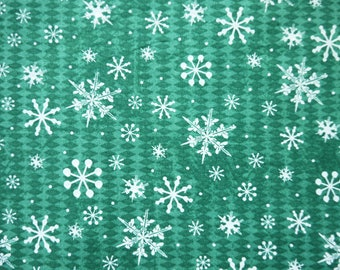 Snowflake with Green Diamond Plaid - 100% Cotton Fabric - 1/2 Yard - more for one cut
