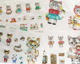 Girl Kitten - Nesshome - Cotton Linen Fabric - 4 in 1 Panel - 15.5in x 55in - S2F2B6