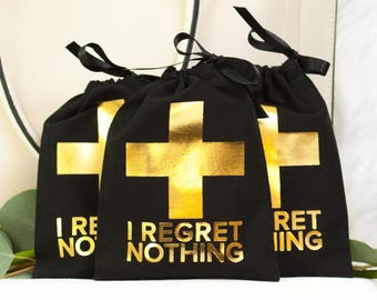 """5x7"""" Bachelorette First Aid Bags - No Regrets! - Hangover Kit Bags - Black with Gold Foil Cross"""