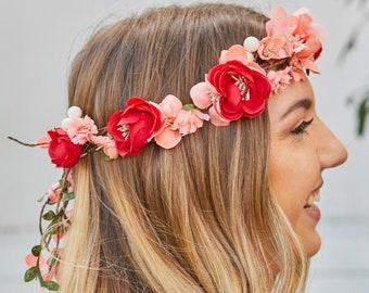 Peony Bride Tropical Flower Crowns - Lots of Colors   Floral headbands for bride   Flower crowns