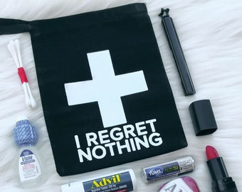 """5x7"""" Bachelorette First Aid Bags - No Regrets! - Hangover Kit Bags - Black with Silver Foil Cross"""