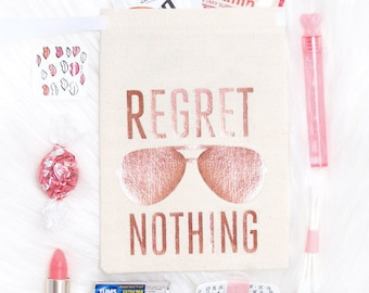 """Rose Gold 5x7"""" Bachelorette Party Hangover Relief Bags - Regret Nothing Aviator -Bags for Hangover Kit"""