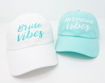 Mermaid Vibes   Bride Vibes - Mermaid Bachelorette Party Dad Hats   Bride and Bridesmaid Gifts   Bridal Hat