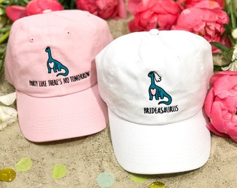 A-Roar-Able Dinosaur Brideasaurus Embroidered Bachelorette Party Dad Hats   Bride and Bridesmaid Gifts   Bridal Hat