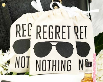 """5x7"""" Bachelorette Party Hangover Relief Bags - Regret Nothing Aviator -Bags for Hangover Kit"""