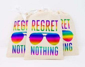 """5x7"""" Gay Pride Rainbow Bachelorette Party Hangover Relief Bags - Regret Nothing Aviator - Bags for Hangover Kit"""