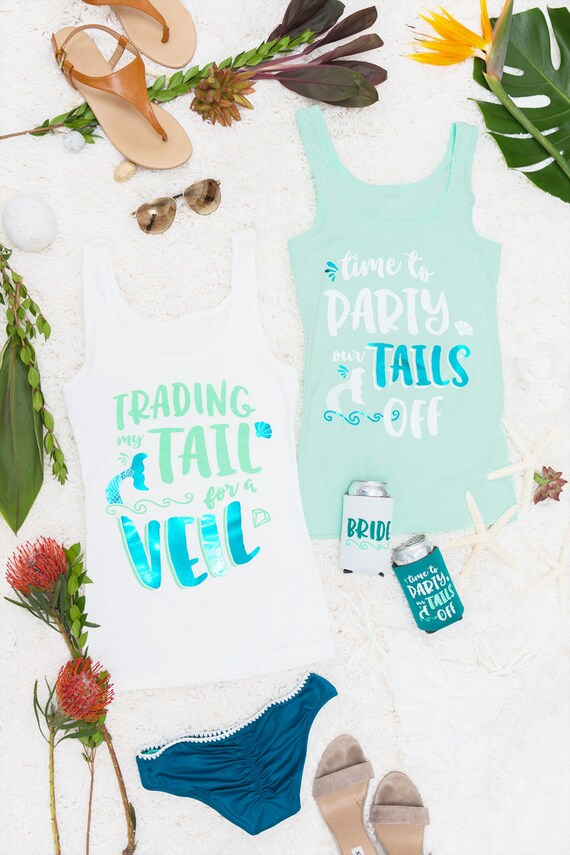 Mermaid Bachelorette Party shirts Trading My Tail for a Veil