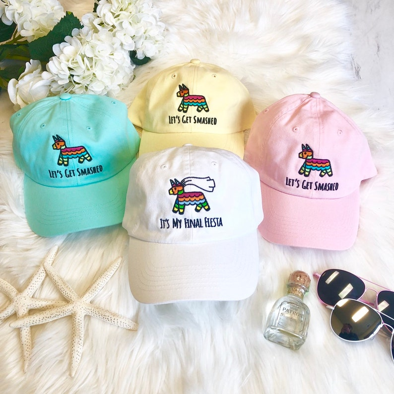 e676969af5c It's My Final Fiesta | Let's Get Smashed - Embroidered Bachelorette Party  Dad Hats | Bride and Bridesmaid Gifts | Bridal Hat
