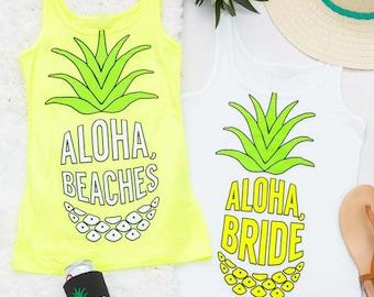 Pineapple Bachelorette Party Shirt   Neon Aloha Beaches & Aloha Bride   Bride and Bridesmaid Gifts   Hen Party