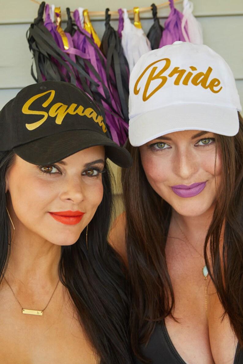 1bc0b673249 Bride Squad Gold Bachelorette Party Hats   Bride Squad hats   Bride and  Bridesmaid Gifts   Bride Hat