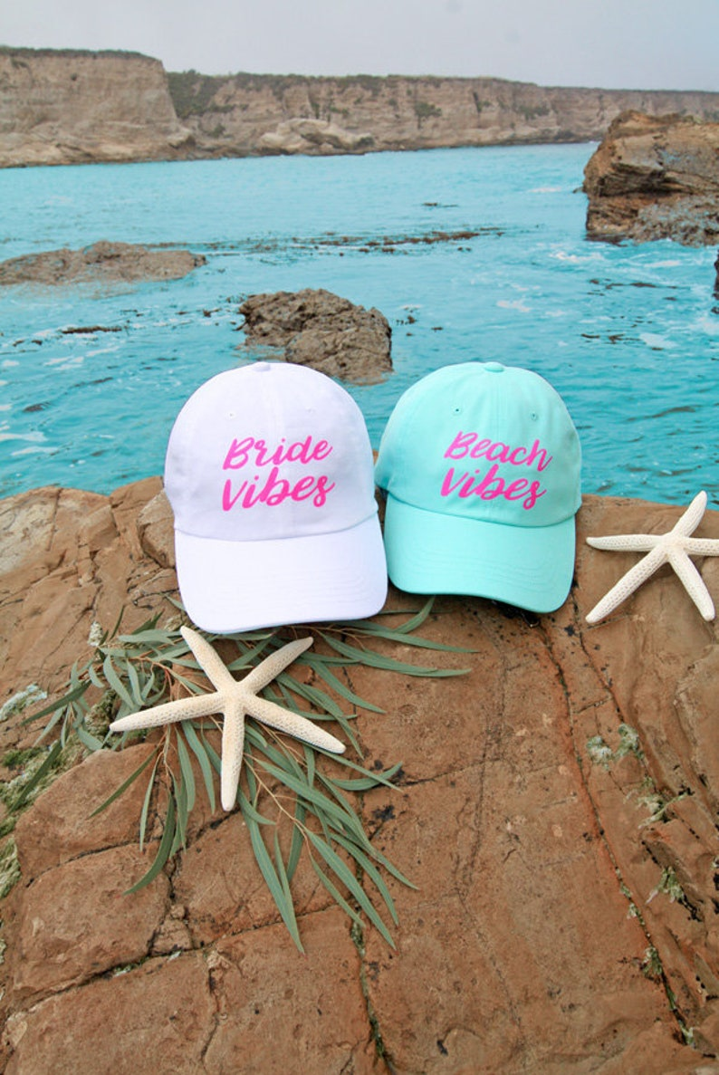 a86220b2199 Beach Vibes Bride Vibes Beach Bachelorette Party Dad Hats | Etsy