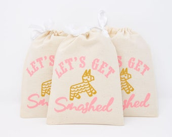 """5x7"""" Mexico Fiesta Bachelorette Party Hangover Relief Bags - Let's Get Smashed - Bags for Hangover Kit"""