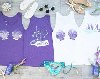 Beach Bachelorette Party Shirts - I Washed Up Like This   Bride Shirts   Mermaid Bachelorette Shirts   Beach and Pool Coverups
