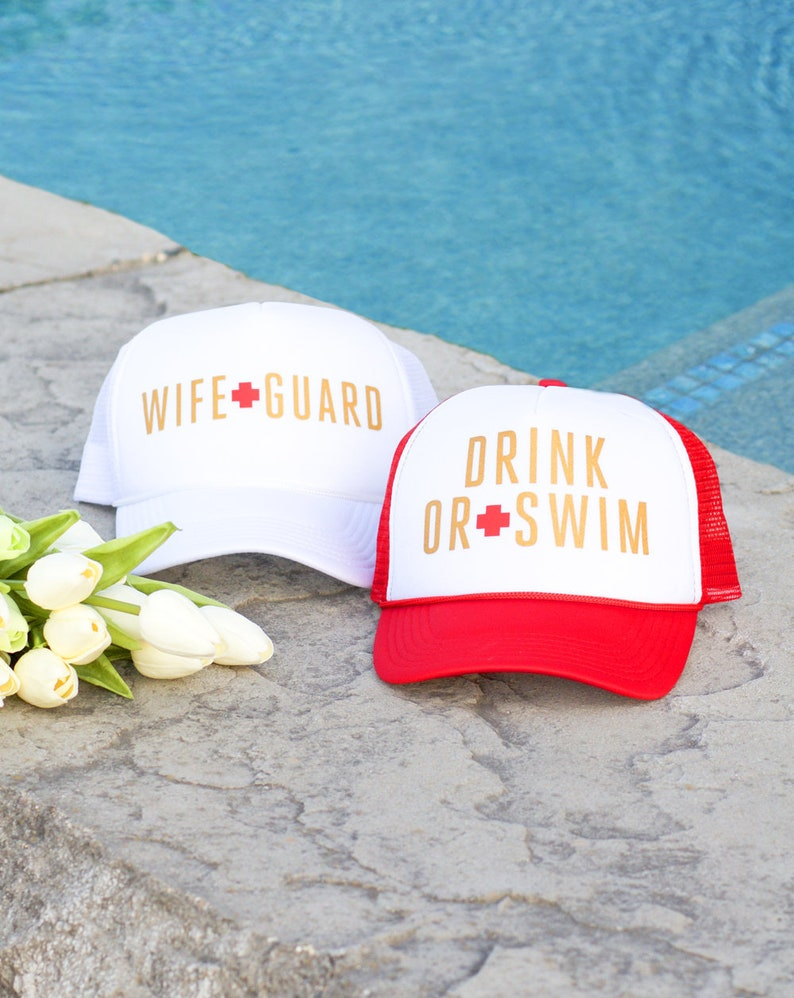 3bae675d4f2 Wifeguard & Drink or Swim Bachelorette Party Hats Perfect | Etsy