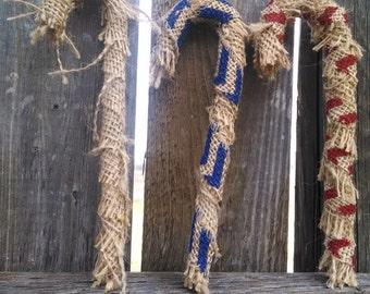 3 Burlap Hanging Candycane