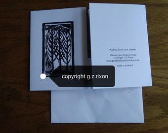 """Aspens, Loch Tummel"""" handmade linoprint card"""