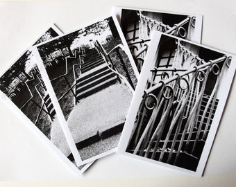 Stairs and Rails 2x2 original B&W photo cards
