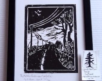 Middle Road, Girvan Valley, Maybole, handprinted linocut print