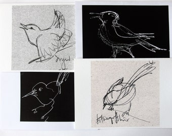 4 birds,cards from my original drawings
