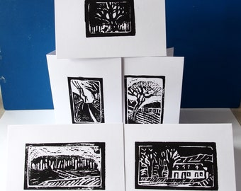 5 individual handprinted cards of original work