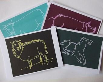 4 inkjet cards of my original farmyard drawings