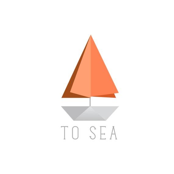 Minimalist Origami Paper Sail Boat Logo Design Customizable