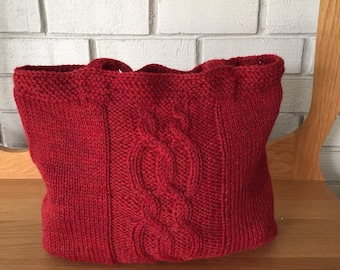 Cable Hand Knit Wool Bag/medium sized shoulder bag/red/cloth lined