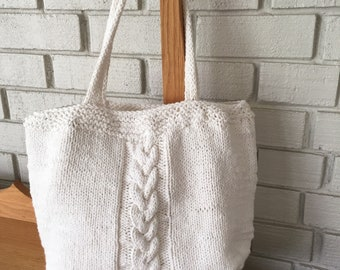 Cable Hand Knit Cotten Bag/medium sized shoulder bag/off-white/cream color/cloth lined/tote
