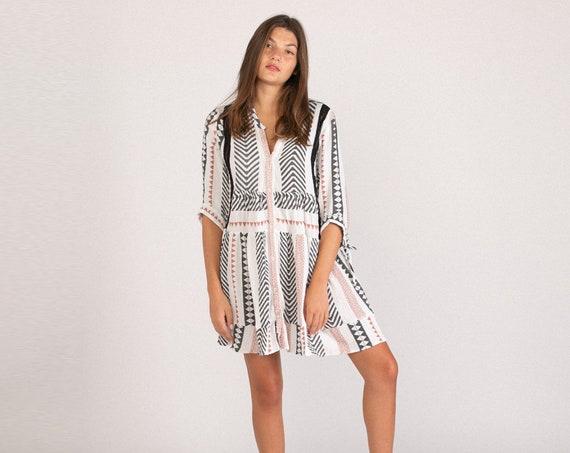 Cotton Gauze Fabric Fall Dress , Original Print Fall Dress.