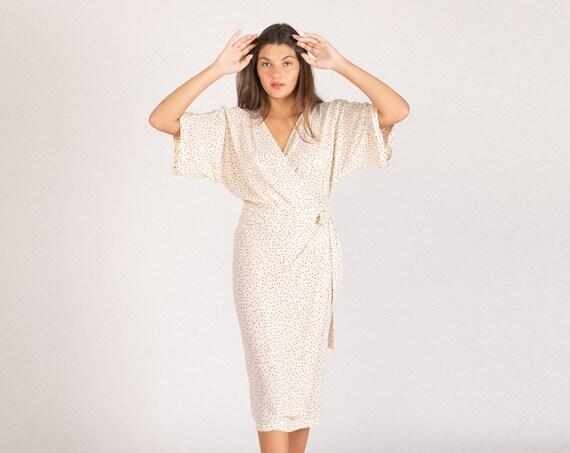 CHLOE DRESS, Wrap cocktail dress ,Polka-Dot Print .