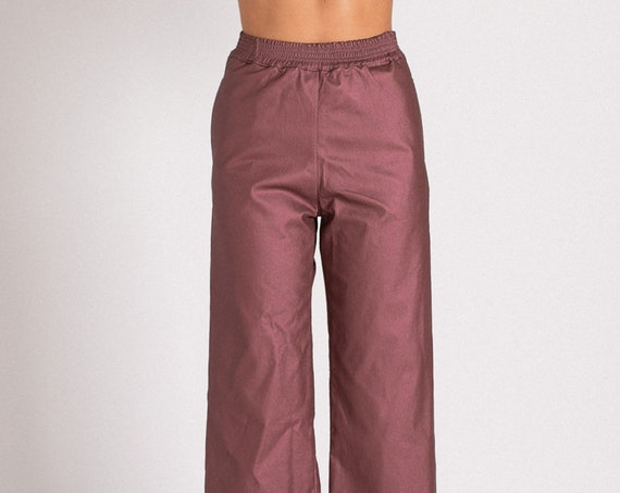 High waisted purple blueberry Faux Leather Pants, elastic Karate fit Pants .