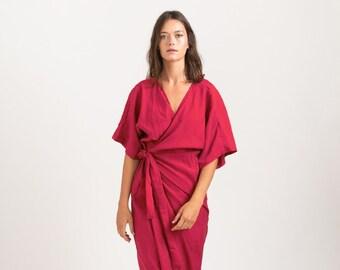 CHLOE DRESS, Wrap cocktail dress , Cherry Pink .