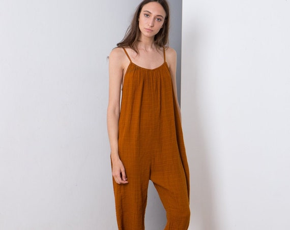PRE ORDER, women's sleeveless onesie, Cotton overalls lovely relaxed casual fit, Boho overall .