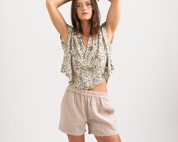 Summer Casual Basic Cotton Shorts, Stone.