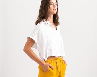 Summer Casual Basic Cotton Shorts, blue.