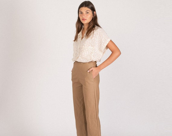 High waisted Kamel Faux Leather Pants, elastic Karate fit Pants .