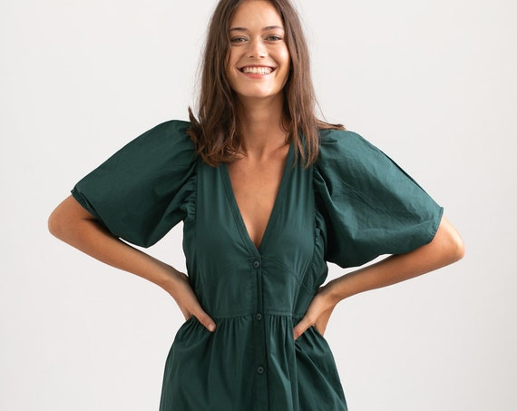 OASIS Button down Maxi dress, green.