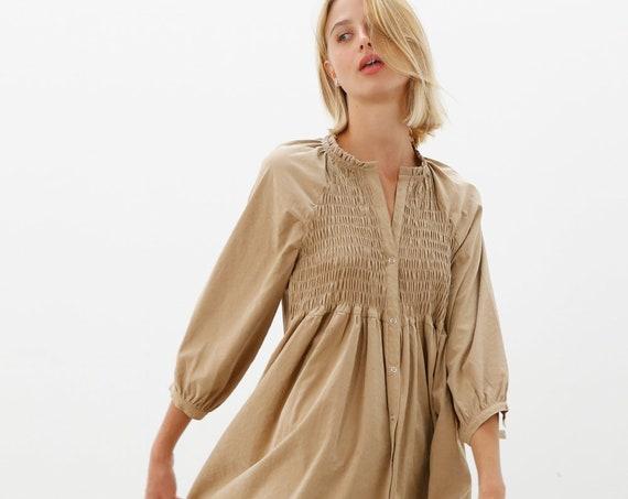 Kamel Puff sleeves bohemian party dress.