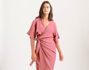 CHLOE DRESS, Wrap cocktail dress , Light Pink .