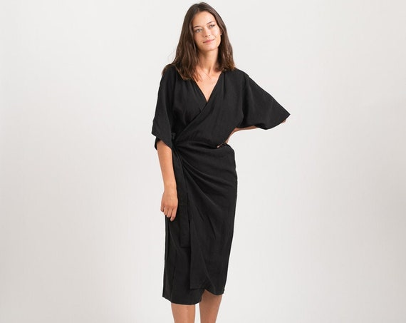 CHLOE DRESS, Wrap cocktail dress ,Black.