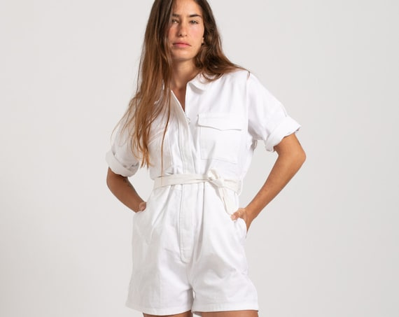 Summer white Short sleeve Cotton Romper.