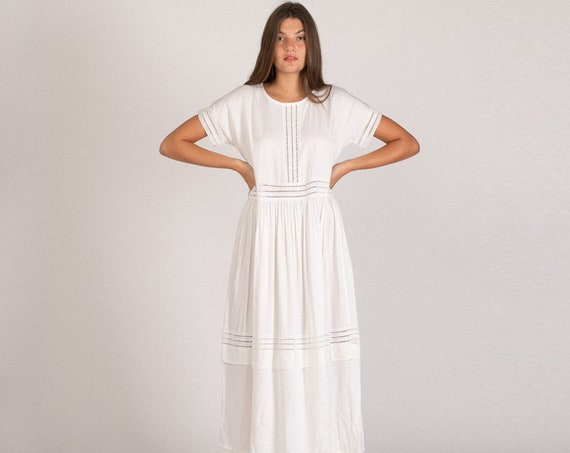 Maxi Party Eyelet Trim White Dress.