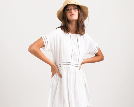 Midi White Eyelet Trim Summer Dress.
