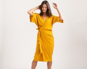 CHLOE DRESS, Wrap cocktail dress ,Yellow.