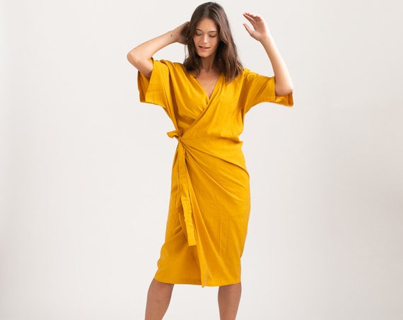 CHLOE DRESS, Wrap cocktail dress ,Yellow.