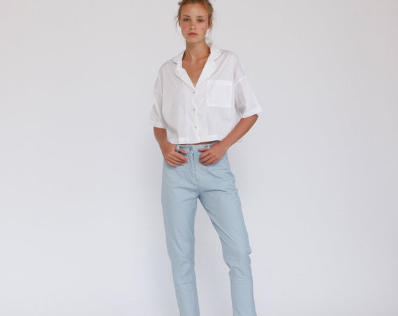 Strips light blue Women High rise Pants