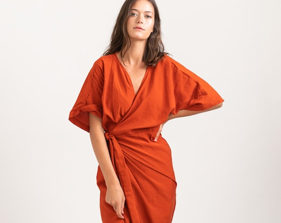 CHLOE DRESS, Wrap cocktail dress ,Orange.